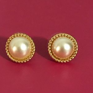 kate space Braided Pearl Studs